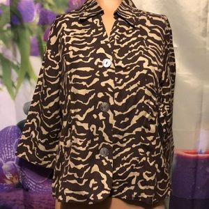 East 5th petite large linen blend jacket brown/tan